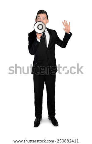 Isolated business man with megaphone - stock photo