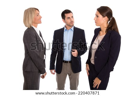 Isolated business team: man and woman talking together wearing suit and costume. - stock photo