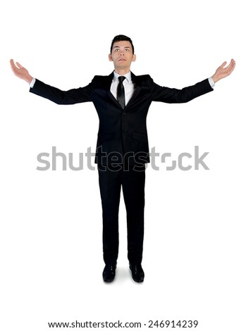 Isolated business with arms up - stock photo