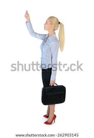 Isolated business woman drag something - stock photo