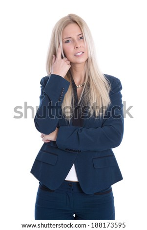 Isolated business woman has problems with her ears. - stock photo