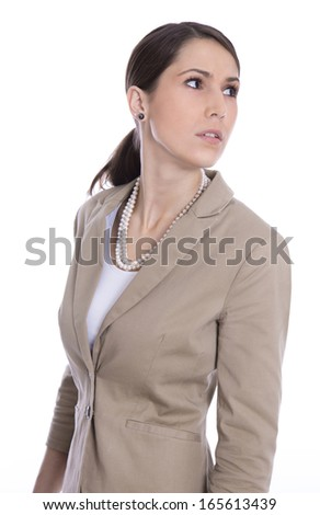 Isolated business woman looking sideways or away - stock photo