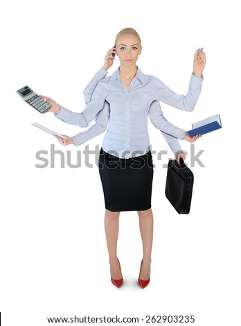 Isolated business woman multitasking - stock photo