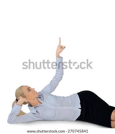 Isolated business woman pointing up - stock photo