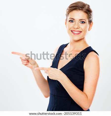 Isolated business woman portrait presenting copy space. White background. Caucasian woman. - stock photo