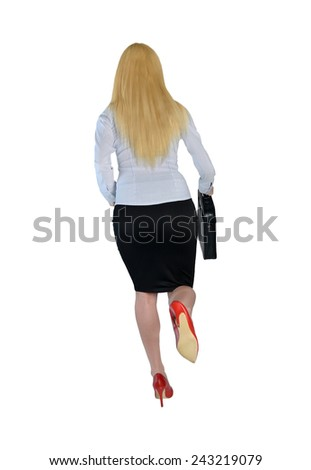 Isolated business woman run back view - stock photo