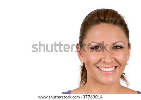 Isolated business woman's happy face with room for copy on left. - stock photo
