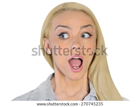 Isolated business woman shocked looking side - stock photo