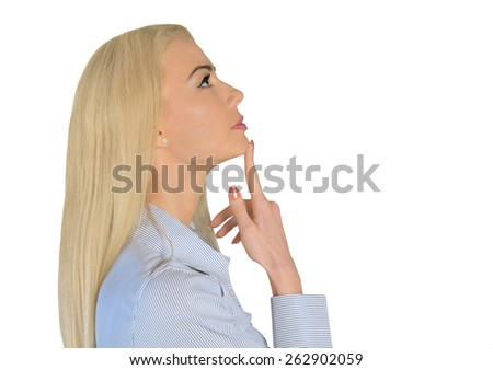 Isolated business woman thinking up - stock photo