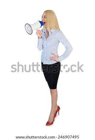 Isolated business woman with loudpseaker - stock photo