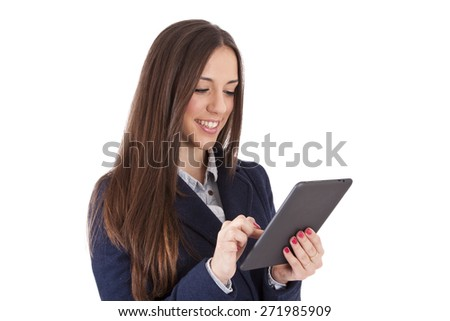 isolated business woman with tablet - stock photo