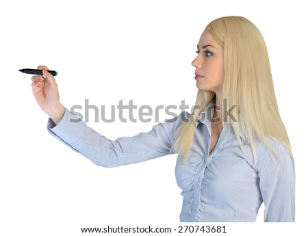 Isolated business woman write something - stock photo