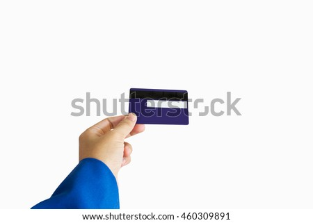 Isolated business women hand with credit or debit ATM card on white background with clipping path