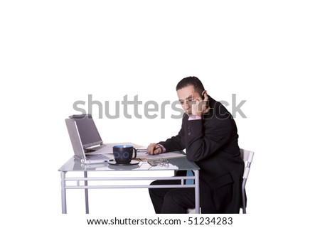 Isolated Businessman At His Desk Working - White Background