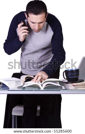 Isolated Businessman At His Desk Working - White Background - stock photo