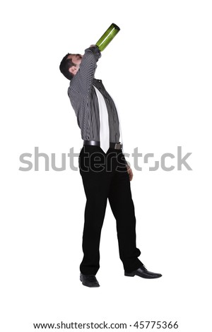 Isolated businessman celebrating with a bottle of drink