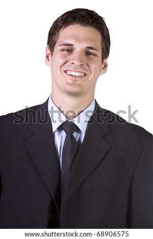 Isolated Businessman - Close up Shot on White Background - stock photo
