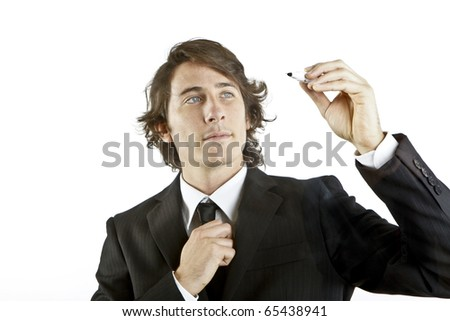 isolated businessman drawing in a transparent glass - stock photo