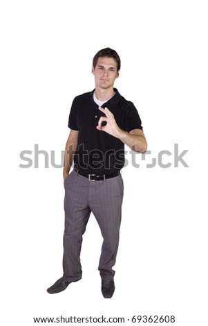 Isolated Businessman gesturing with the Ok sign - stock photo
