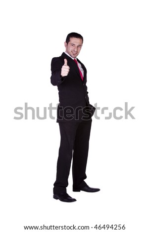 Isolated Businessman Giving a Thumbs Up - White Background
