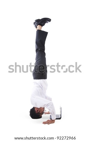 Isolated businessman hand standing with laptop - stock photo