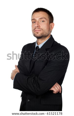 Isolated businessman looking at camera.