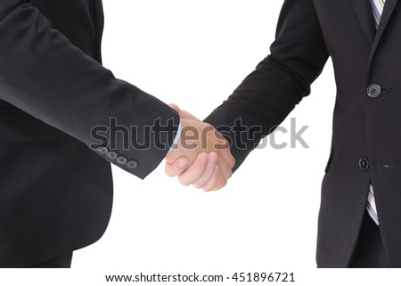 isolated businessman shaking hands on white background