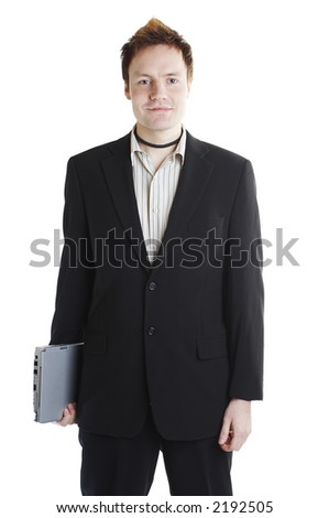 Isolated businessman with laptop computer