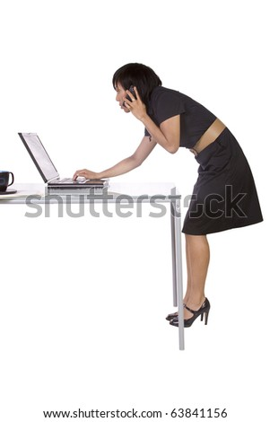 Isolated Businesswoman At Her Desk Working - White Background