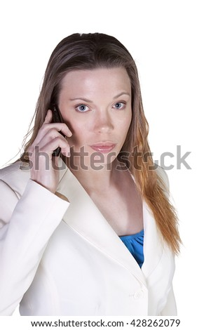 Isolated Businesswoman at Talking on the Cell Phone at Work - stock photo