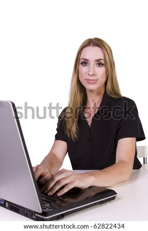 Isolated Businesswoman working on her laptop in the Office