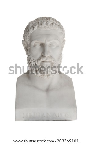 Isolated bust of Periandros ( died 583 before Christ) - replica in the Achilleon palace in Corfu. - stock photo