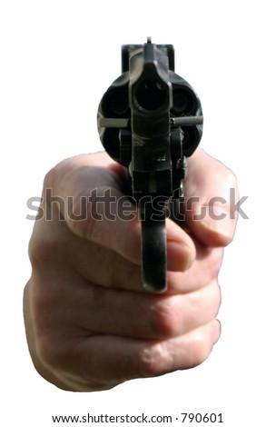 isolated .45 cal hand gun - stock photo