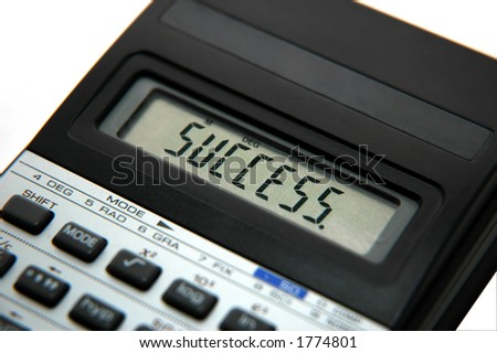 isolated calculator with the word success on screen