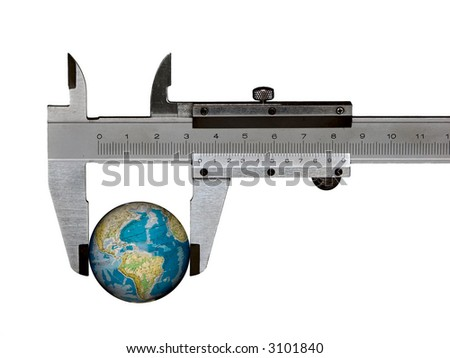 isolated caliper with earth - stock photo