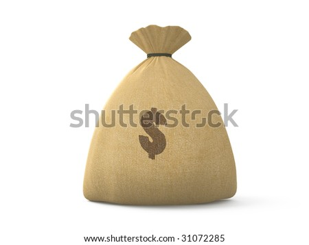 isolated canvas bag with dollar symbol on white background