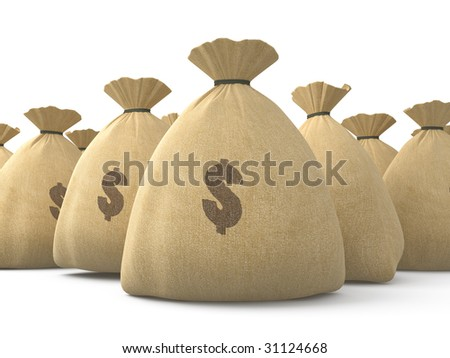 Isolated canvas bags with moneys on white background - stock photo