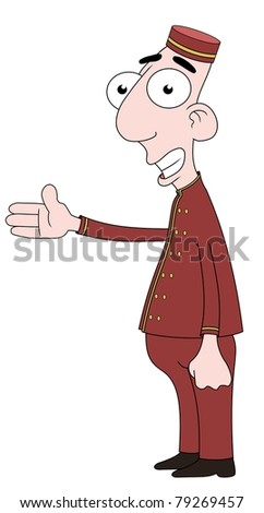 Isolated cartoon Bellboy character - stock photo