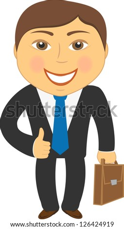 isolated cartoon businessman with portfolio and showing thumb up - stock photo