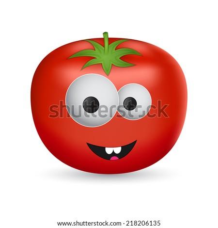 Isolated cartoon tomato - stock photo