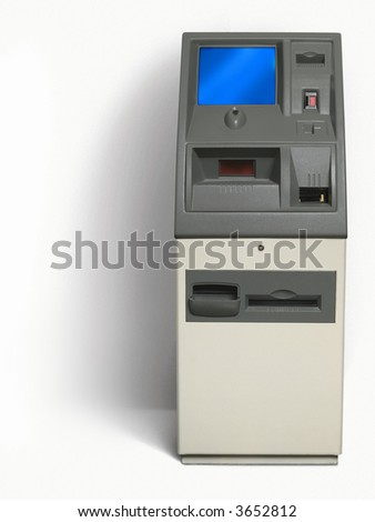 Isolated cash - atm machine, with white background - stock photo