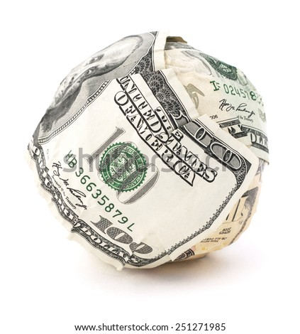 Isolated cash ball on a white background. - stock photo