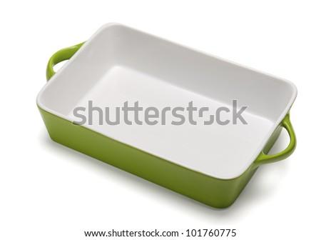 Isolated casserole, empty tray. - stock photo