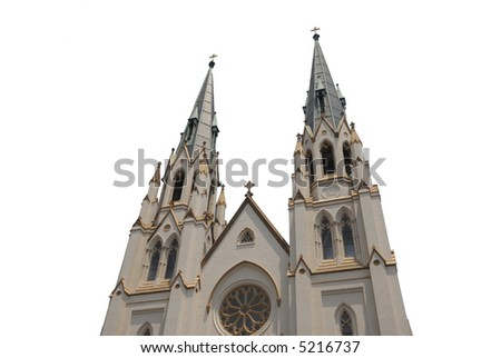 ISOLATED - Cathedral with white isolation - stock photo