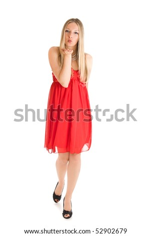 Isolated caucasian blond woman in red dress