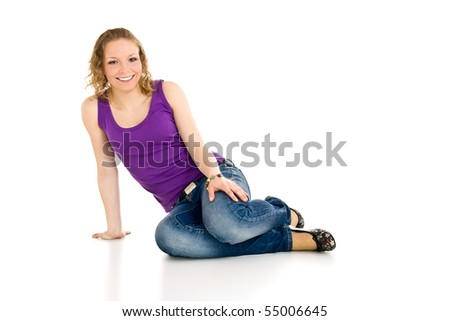 Isolated caucasian young girl