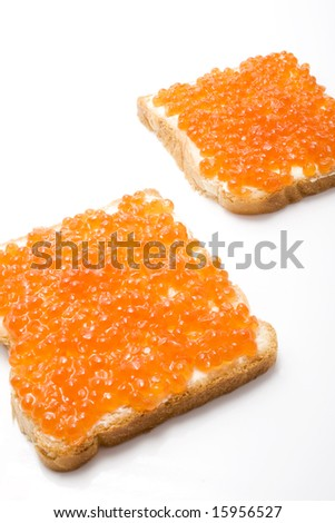 isolated caviar sandwiches