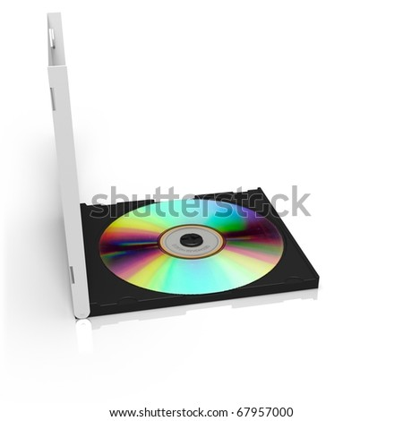 Isolated CD box with disc on white background - stock photo