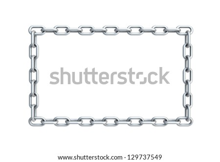 isolated chain in shape of rectangle, 3d render