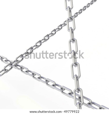 Isolated chain Links 3d - stock photo